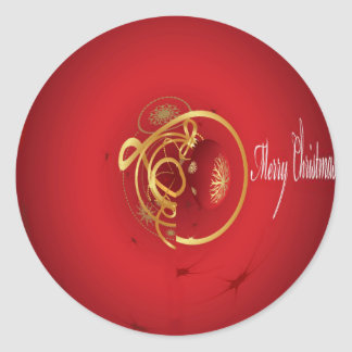 Red Christmas Jingle Bells Have a Blessed Nice Day Classic Round Sticker