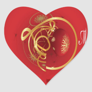 Red Christmas Jingle Bells Have a Blessed Nice Day Heart Sticker