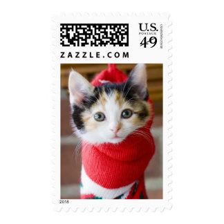 Red Christmas Kitten Postage