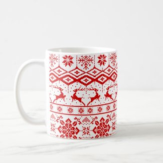 Red Christmas Knitted Reindeer And Snowflakes