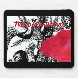 Red Christmas Llama - Llama Holiday Mouse Pad