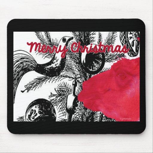 Red Christmas Llama - Llama Holiday Mouse Pads