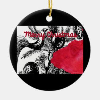 Red Christmas Llama - Llama Holiday Ornament