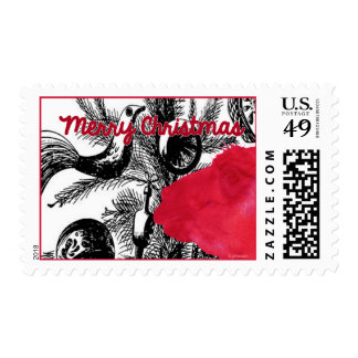 Red Christmas Llama - Llama Holiday Postage Stamps