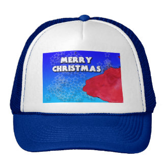Red Christmas Llama with Holiday Star Studded Sky Trucker Hat