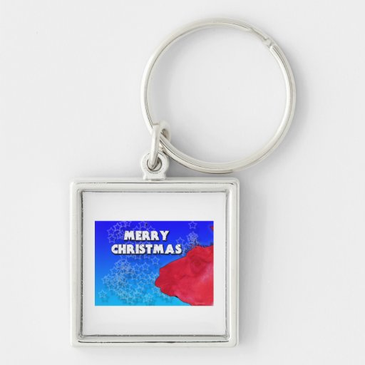 Red Christmas Llama with Holiday Star Studded Sky Keychains