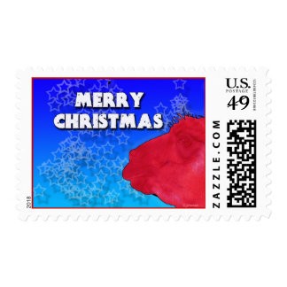 Red Christmas Llama with Holiday Star Studded Sky Stamps