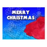 Red Christmas Llama with Holiday Star Studded Sky Postcard