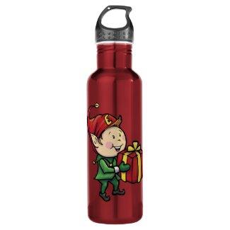 Red Christmas Metal Water Bottle