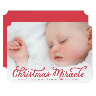 Red Christmas Miracle Holiday Birth Announcement