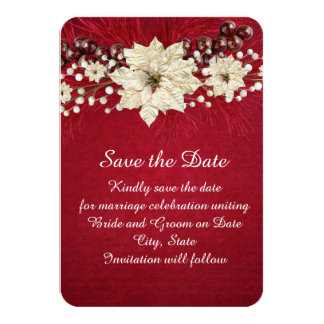 Red Christmas Miracle Save the date Card