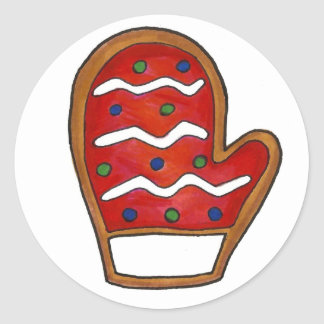 Red Christmas Mitten Sugar Cookie Holiday Winter Classic Round Sticker