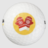 Red Christmas Mittens Golf Balls