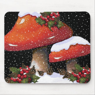 Red Christmas Mushrooms, Snow, Holly, Art Mouse Pad