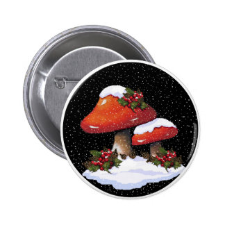 Red Christmas Mushrooms, Snow, Holly, Art Pinback Button