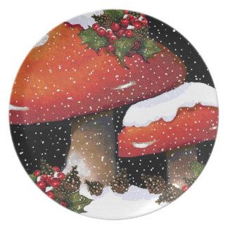 Red Christmas Mushrooms, Snow, Holly, Art Dinner Plate