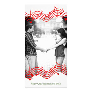 Red Christmas Music Photo Holiday Card