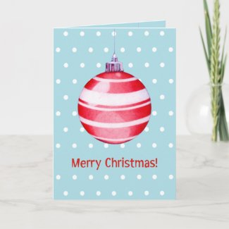 Red Christmas Ornament blue Card card
