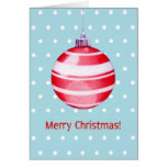 Red Christmas Ornament blue Card