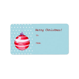 Red Christmas Ornament blue Gift Tag Label