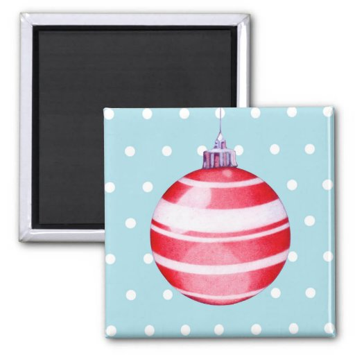 Red Christmas Ornament blue Magnet