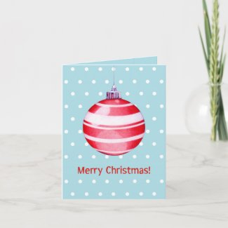 Red Christmas Ornament blue Note Card card