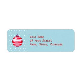 Red Christmas Ornament blue Return Address Label