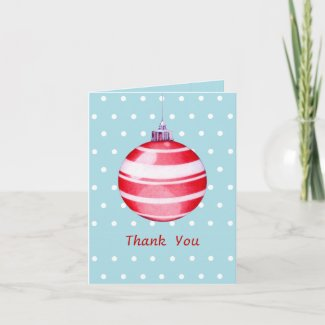 Red Christmas Ornament blue Thank You Note Card card