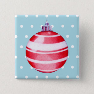 Red Christmas Ornament Button