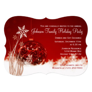 Red Christmas Ornament Holiday Party Invitations at Zazzle