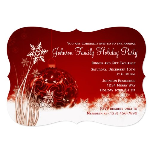 Red Christmas Ornament Holiday Party Invitations