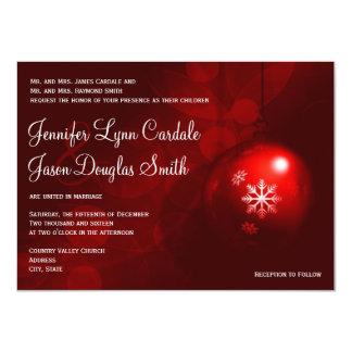 Red Christmas Ornament Holiday Wedding Invitations