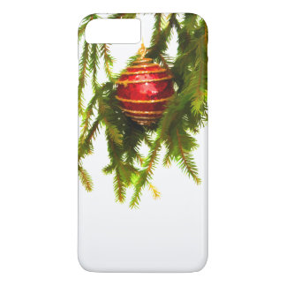Red Christmas ornament on a Christmas tree iPhone 7 Plus Case