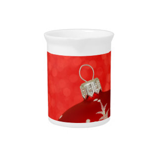 Red Christmas Ornament Beverage Pitcher