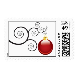 Red Christmas Ornament Postage Stamps