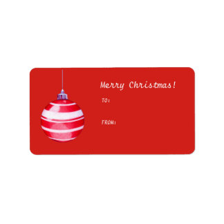Red Christmas Ornament red Gift Tag Label