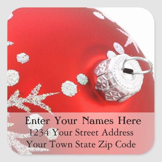 Red Christmas Ornament Return Address Label