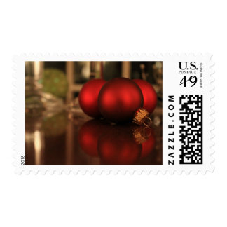 Red Christmas Ornament Trio & Reflections Photo Postage