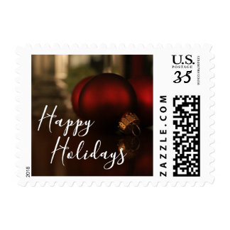 Red Christmas Ornaments Photo, Happy Holidays Postage