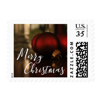 Red Christmas Ornaments Photo, Merry Christmas Postage