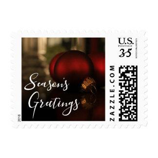 Red Christmas Ornaments Photo, Season's Greetings Postage