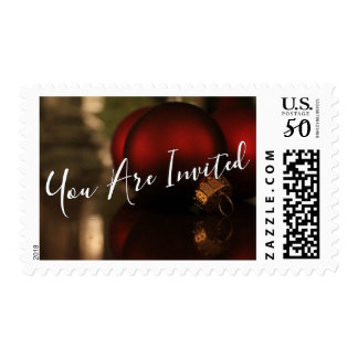 Red Christmas Ornaments Photo, You Are Invited Postage