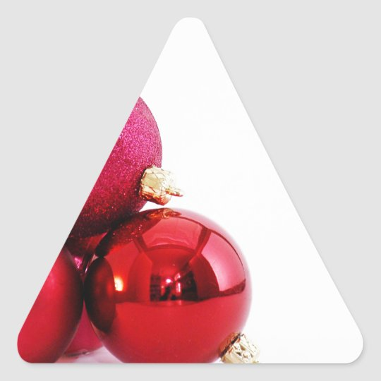 Red Christmas Ornaments Triangle Sticker