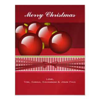 Red Christmas Ornaments Your Family Photo Card
