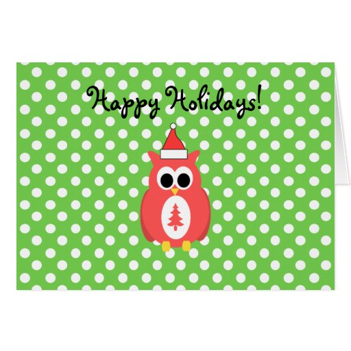 Red Christmas owl on green polka dots Greeting Cards