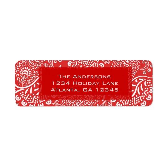 Red Christmas Paisleys Return Address Label