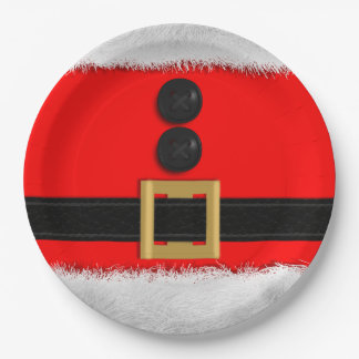 Red Christmas Party Paper Plates