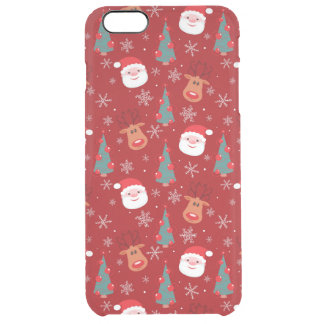 Red Christmas pattern Clear iPhone 6 Plus Case