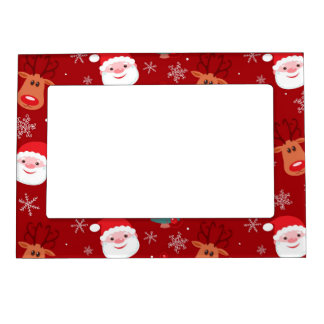 Red Christmas pattern Magnetic Picture Frames