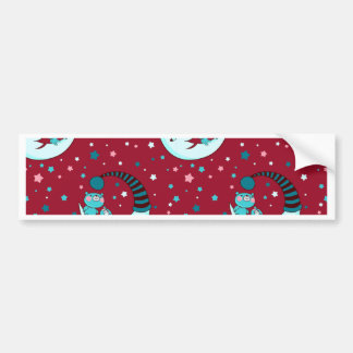 Red Christmas Pattern with the Moon and Bears Bumper Sticker